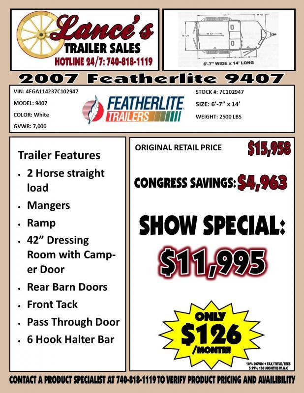 Used 2007 Featherlite 9407 Horse Trailer