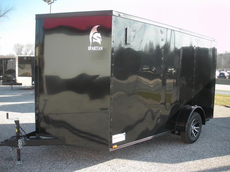 "2020  Spartan 7' X 12' 3K Black w/ ""Black Trim Pkg."" Motorcycle Pkg. Semi-Screwless Enclosed Cargo Trailer"