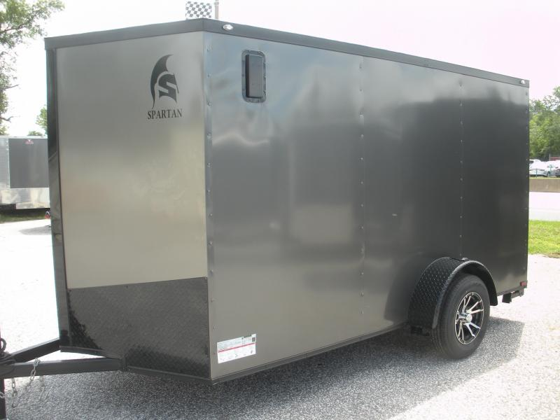 "2019 Spartan 6' X 12' Charcoal w/ ""Black Trim Pkg."" & Motorcycle Pkg. Enclosed Cargo Trailer"