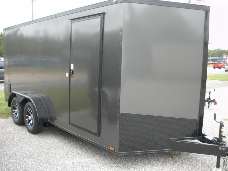 "2020  Spartan 7' X 16' Charcoal w/ ""Black Trim Pkg."" & Motorcycle Pkg. Enclosed Cargo Trailer"