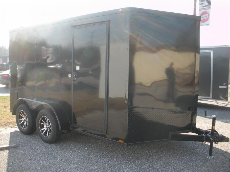 "2020  Spartan 7' X 12' 7K Black w/ ""Black Trim Pkg."" Motorcycle Pkg. Semi-Screwless Enclosed Cargo Trailer"