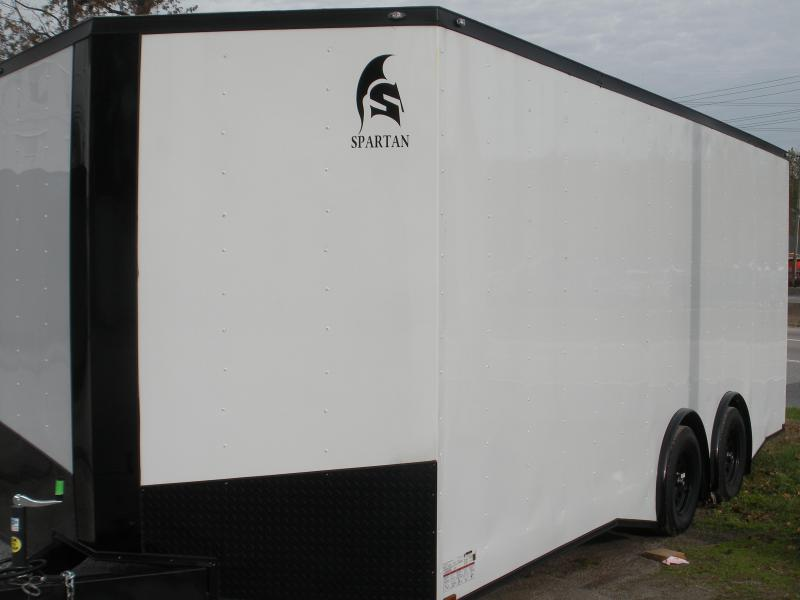 2020 Spartan 8.5' X 20' X 7' Height 7K Split Torsion Axle White/ Black Trim Car / Racing Trailer