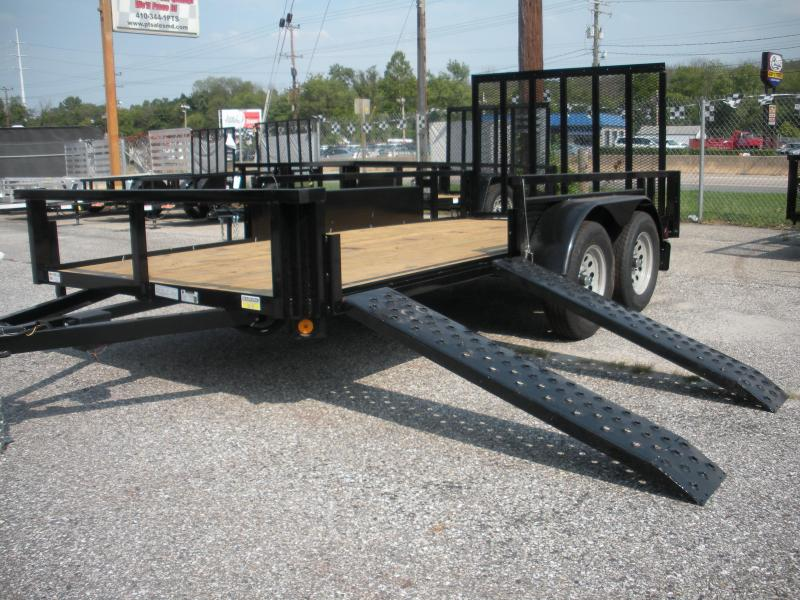 "2019 Quality Steel and Aluminum 74"" X 14' 7K ""ATV Ramps"" Utility Trailer"