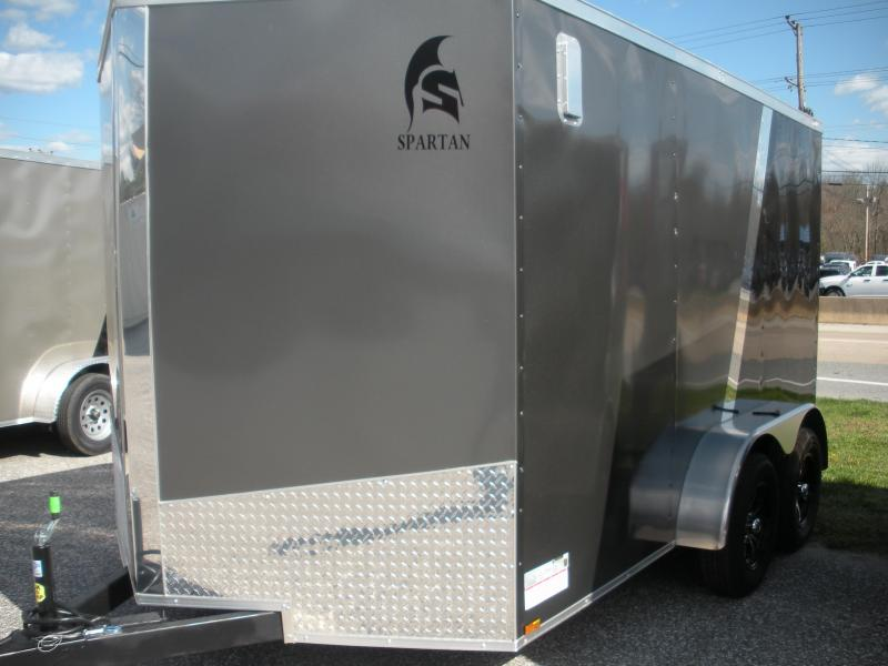 2020  Spartan 7' X 12' Charcoal and Black *4 D Rings *2 Way Side Vents *Stabilizer Jacks Enclosed Cargo Trailer