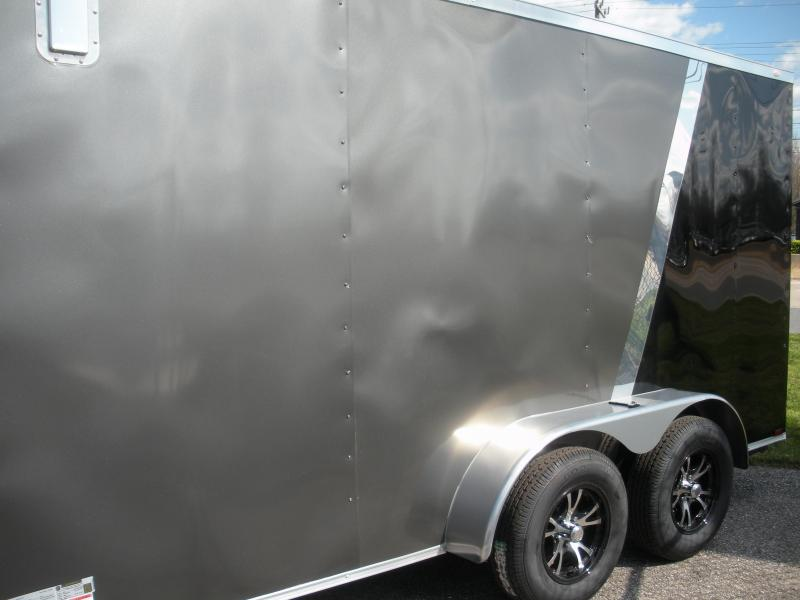 2020 Spartan 7 X 14 Charcoal and Black *4 D Rings *2 Way Side Vents *Stabilizer Jacks Enclosed Cargo Trailer