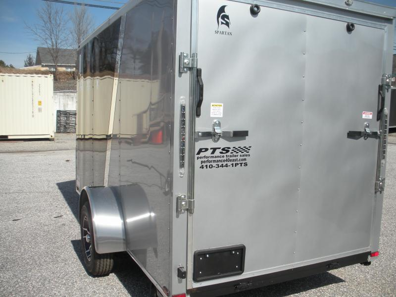 2020 Spartan 6' X 12' Black/Silver & Motorcycle Pkg. Enclosed Cargo Trailer