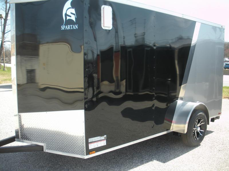 2019 Spartan 6' X 12' Black/Silver & Motorcycle Pkg. Enclosed Cargo Trailer