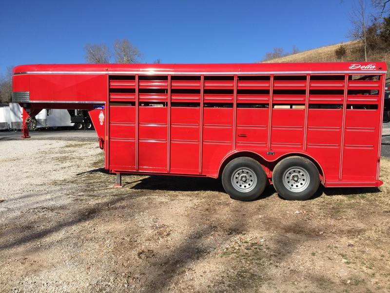 Delta Manufacturing 16' Red Gooseneck Livestock Trailer