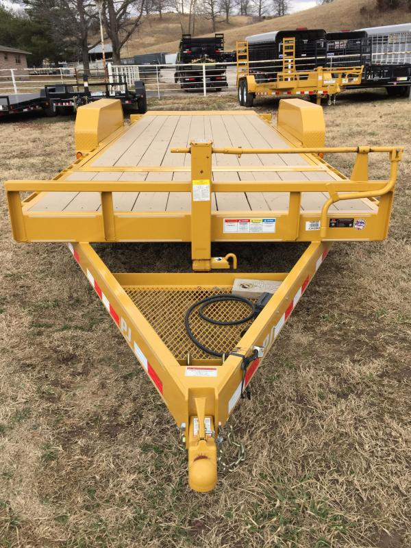 "PJ Trailers 20' x 6"" Channel Yellow Equipment Tilt Trailer"