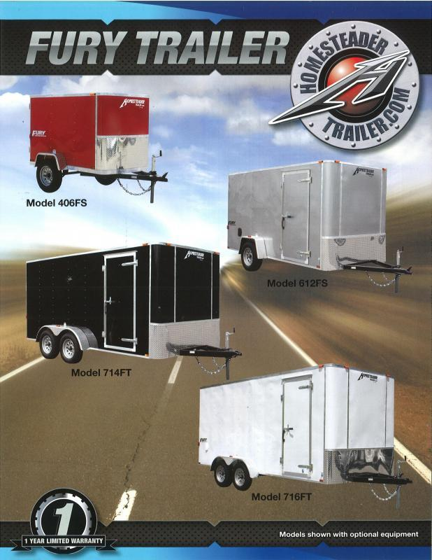 6 x 12 Homesteader Fury Enclosed Cargo Trailer 3k