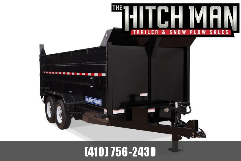 7 x 12 Sure-Trac 4' High Side Dump Trailer 14K Scissor Hoist