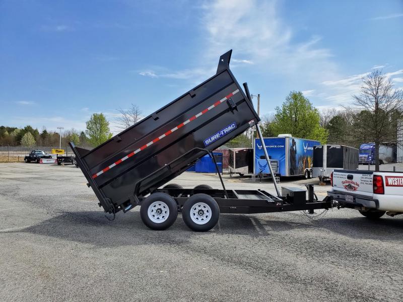 7 x 12 Sure-Trac 4' High Side Dump Trailer 14K Telescopic Ram