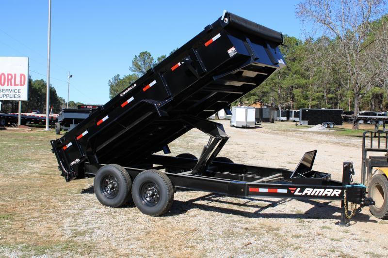 "Lamar 83""X14' Tandem Axle 14K Black Dump Trailer"