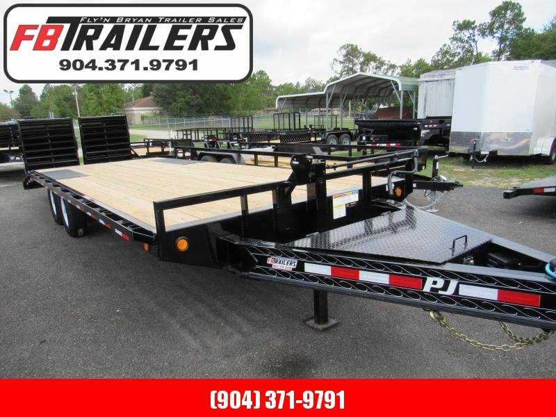 2020 PJ Trailers 24' Deckover with Monster Ramps Equipment Trailer