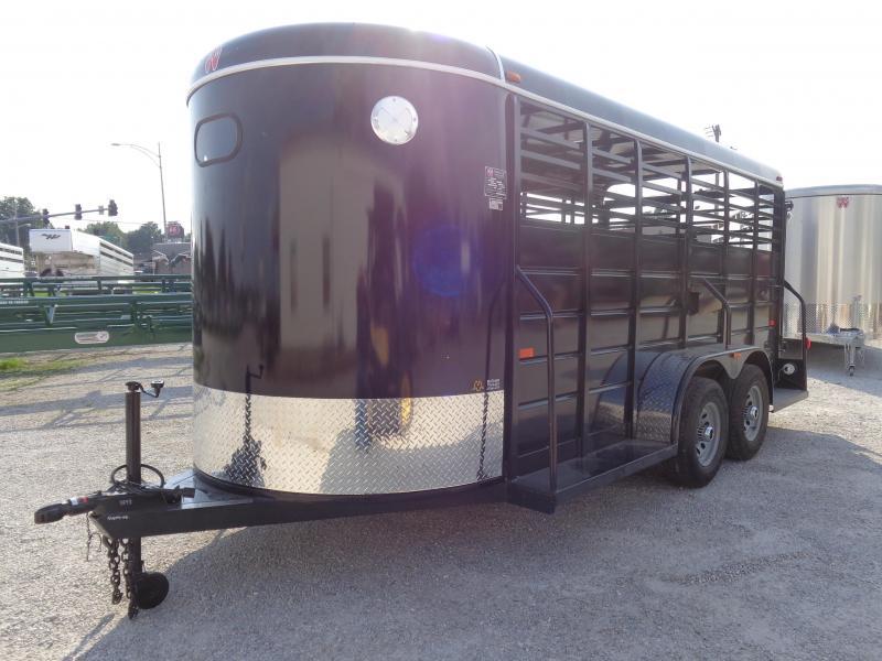 W-W 16' x 6' All Around Dark Shadow Gray Bumper Pull Stock trailer
