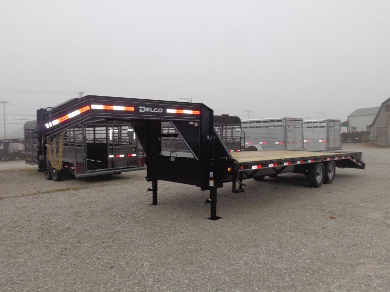 "Delco 102""x 20'+5' Gooseneck 14000 Deckover Equipment Trailer W/ MAX Ramps"