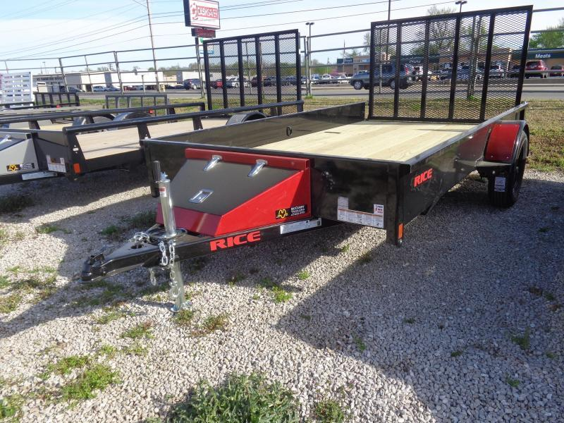"Rice 76"" x 12' Stealth Bumper Pull Black with Red-Out Utility Trailer"