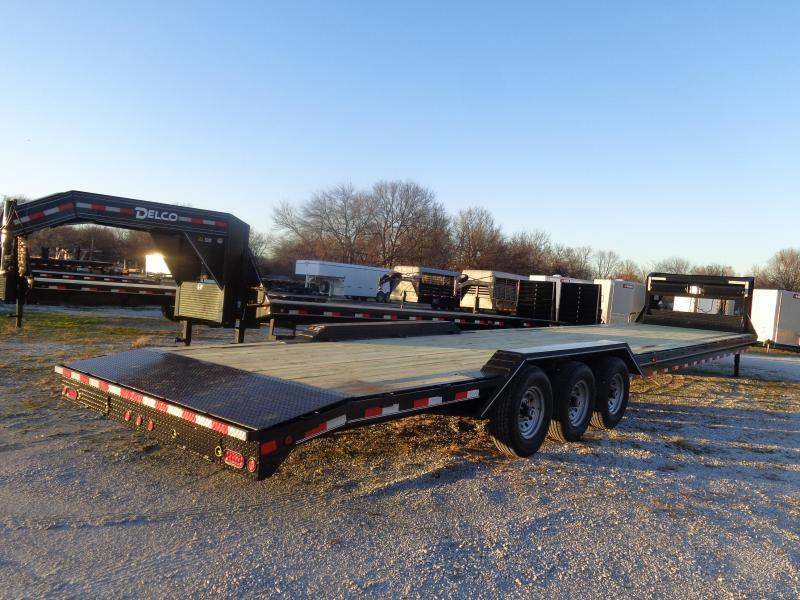 "Delco 102"" x 40' (Includes 2' Dovetail) 21000 Gooseneck Lowboy Equipment/Car Trailer with Slide-Out Ramps"