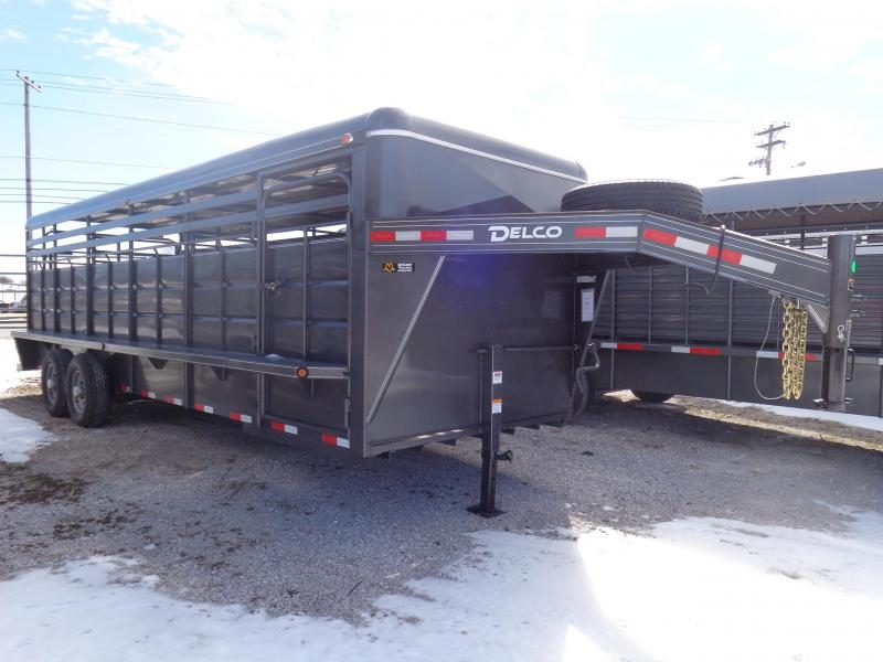 Delco 24' x 6'8 Metal Top Dark Gray Powder Coated Gooseneck Stock Trailer