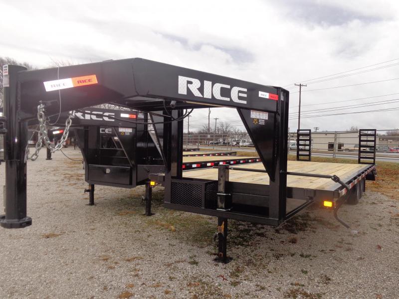 "Rice 102""x 20'+5' 14000# Gooseneck Deckover SE Model Equipment Trailer W/ 5' Stand Up Ramps"
