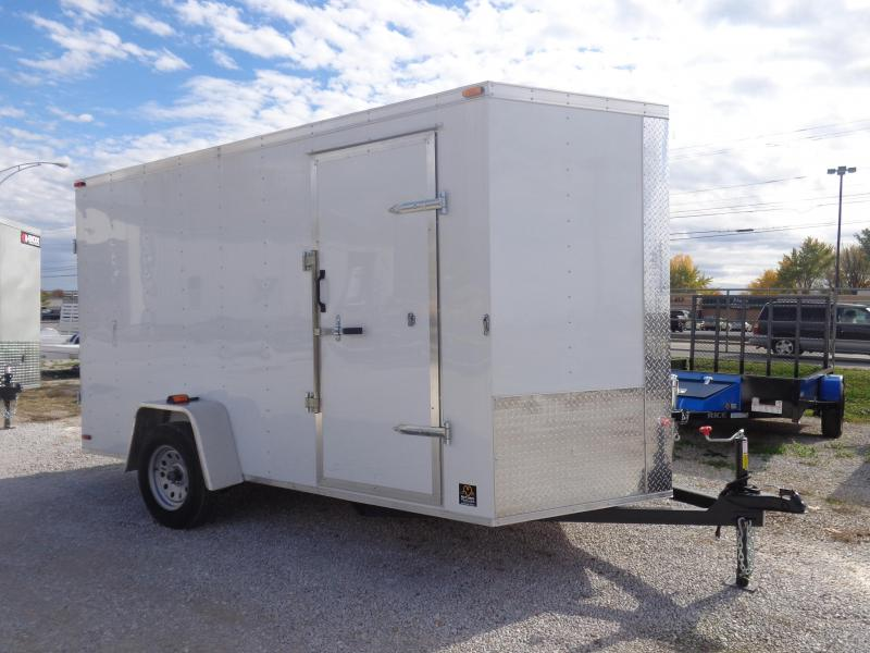 Box Cargo 6' x 12' White Bumper Pull Enclosed Cargo Trailer