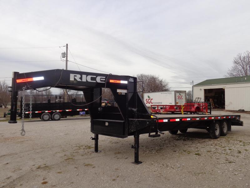 USED 2016 Rice 102 x 20'+5' Gooseneck Deckover W/ 3 Fold Over Ramps