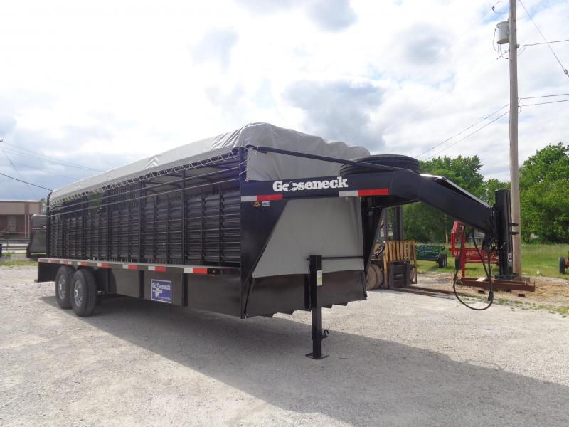 Gooseneck Brand 24' x 6'8 Gooseneck Black with Light Gray Tarp Livestock Trailer
