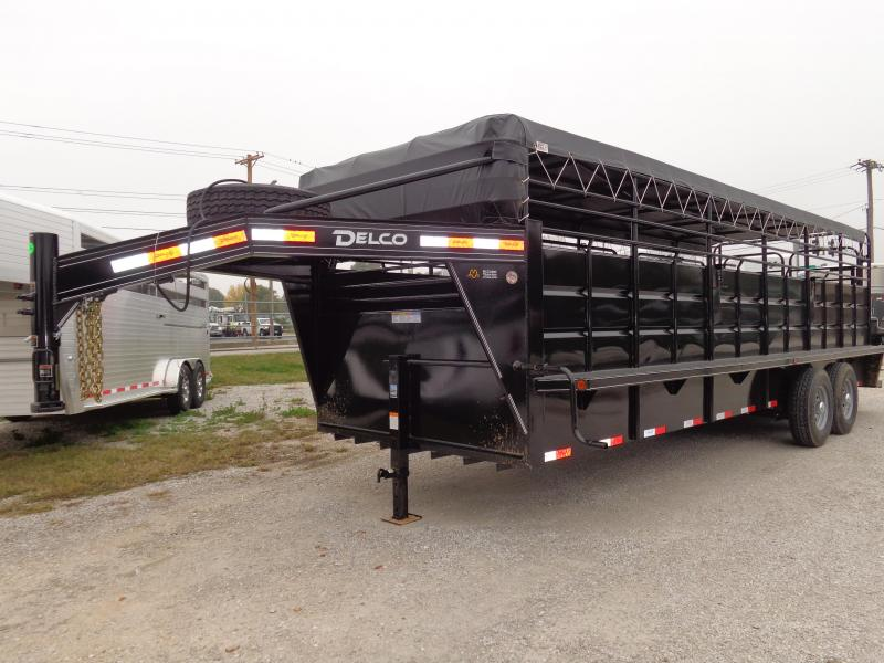 Delco 24' x 6'8 Gooseneck Powder Coated Black w/ Gray Tarp Livestock Trailer