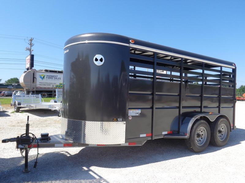 Delco 16'x6' Dark Gray Powder Coated Bumper Pull Livestock Trailer