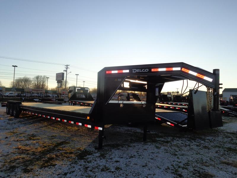 """Delco 102"""" x 40' (Includes 2' Dovetail) 21000 Gooseneck Lowboy Equipment/Car Trailer with Slide-Out Ramps"""
