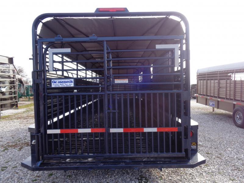 Gooseneck Brand 24' x 6'8 Gooseneck Indigo Blue Metallic W/ light Gray Tarp Livestock Trailer
