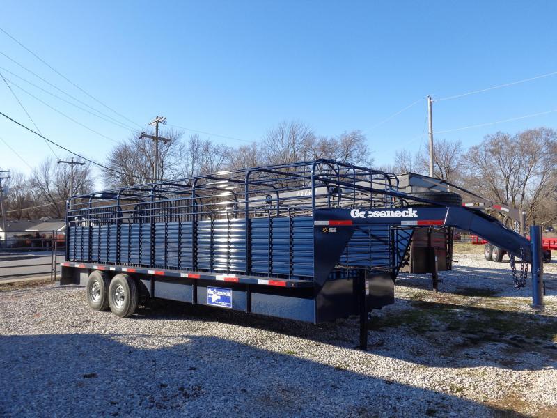 Gooseneck Brand 24' x 6'8 Gooseneck Indigo Blue Metallic Bar Top Livestock Trailer