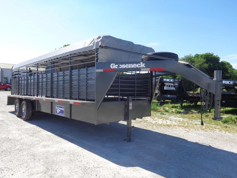 Gooseneck Brand 24' x 6'8 Gooseneck Gray Metallic with Light Gray Tarp Livestock Trailer