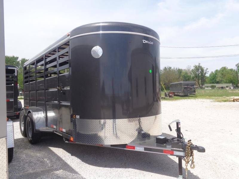 "Delco 16' x 6'8"" Bumper Pull Powder Coated Dark Gray Stock Trailer"