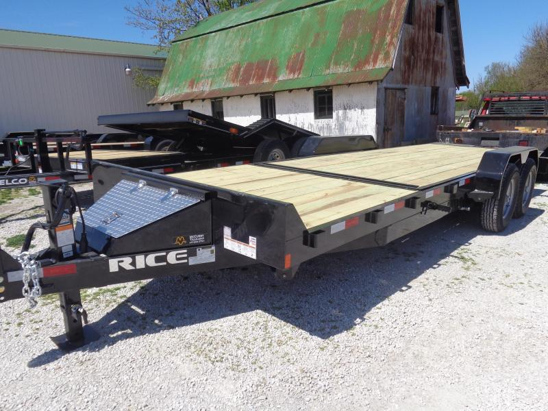 Rice 82 x 16'+4' Knife Edge Bumper Pull 14000# Partial Tilt Heavy Duty Flatbed