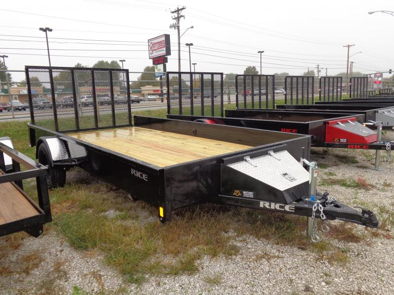 Rice 82 x 14' Bumper Pull Stealth Black Utility trailer
