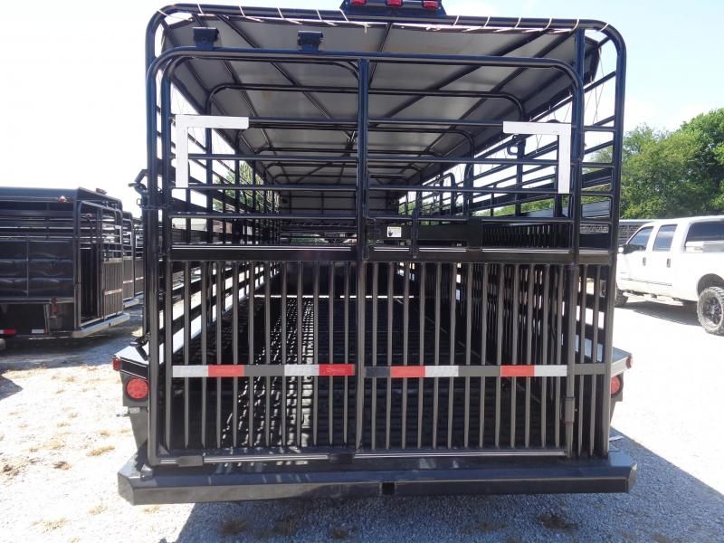Delco 24'x6'8 Gooseneck Powder Coated Black w/ Dark Gray Tarp Livestock Trailer