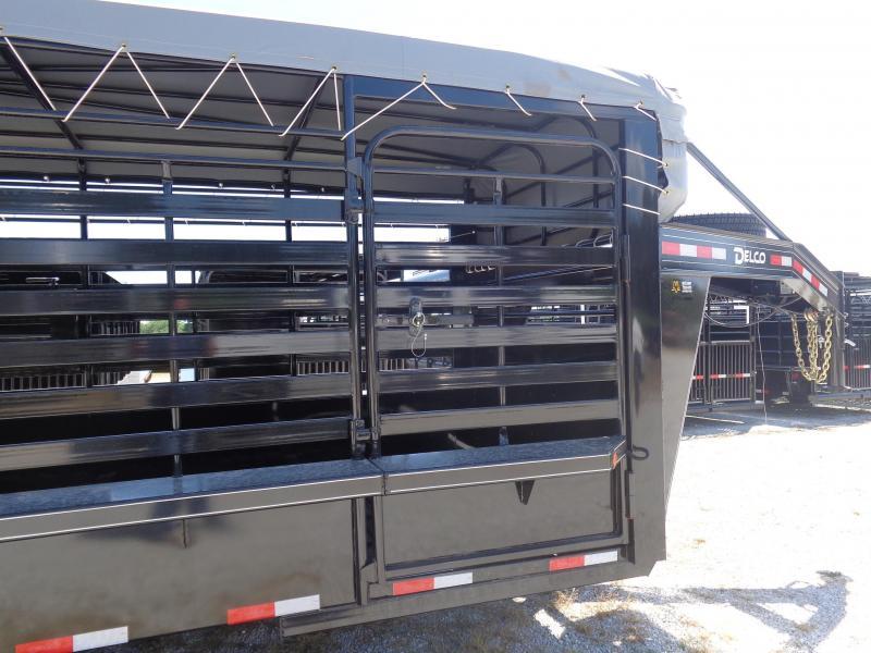 Delco 24'x6'8 Gooseneck Powder Coated Black w/ Dark Gray Tarp Livestock Trailer