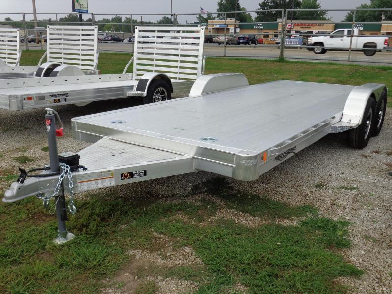 """Hillsboro 18' x 6'10"""" Aluminum Bumper Pull Car Hauler Flatbed Trailer"""