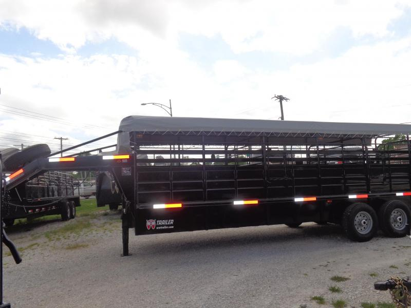 W-W 24 x 6'8 Roustabout Gooseneck Dark Gray w/ Light Gray Tarp (COMING SOON) Livestock Trailer