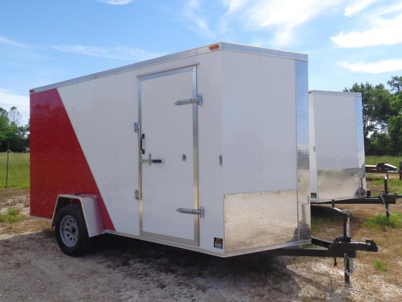 Box Cargo 6'x12' Red & White Bumper Pull Enclosed Cargo Trailer