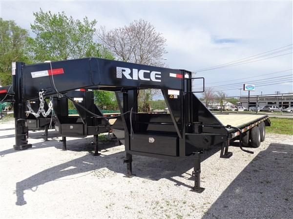 "Rice 102""x20'+5' Gooseneck 22000# Deckover w/ 2 Fold Over Ramps & Center Pop-Up"