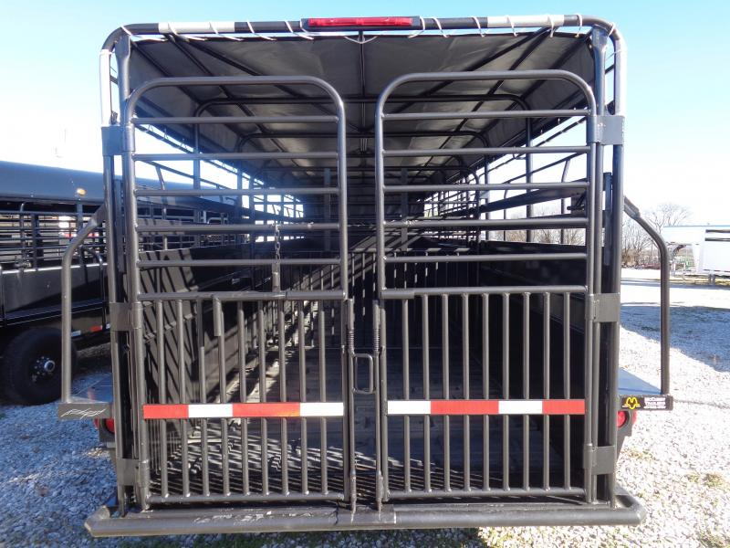 "W-W 24' x 6'8"" Roustabout Gooseneck Dark Shadow Gray with Light Gray Tarp  Livestock Trailer"