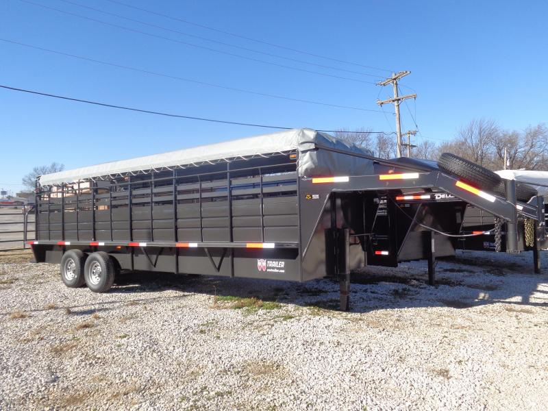 "W-W 24' x 6'8"" Roustabout Gooseneck Dark Shadow Gray with Light Gray Tarp  Livestock Trailer"
