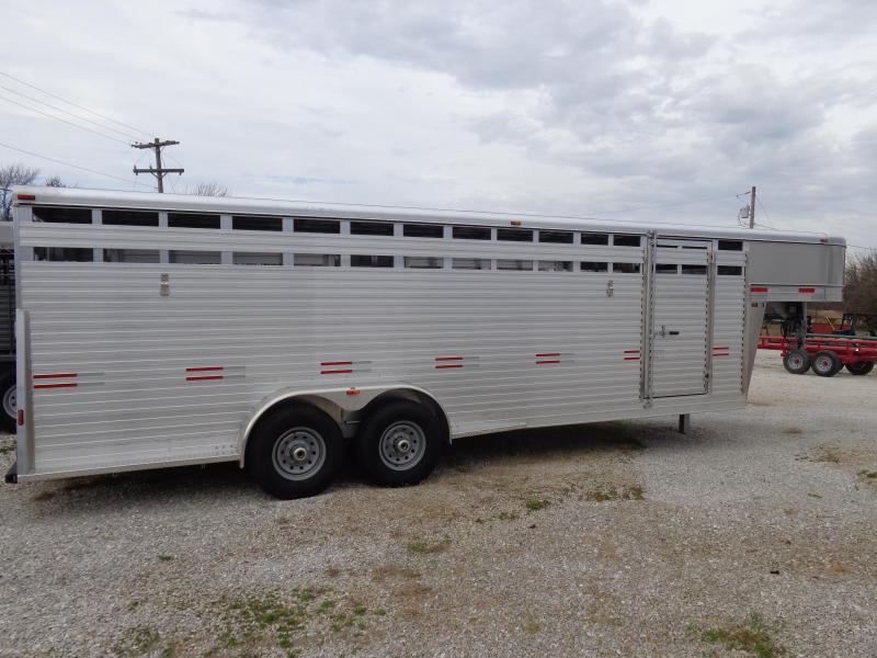 W-W 24' x 7' Bright Line Stockman Aluminum Gooseneck Livestock Trailer
