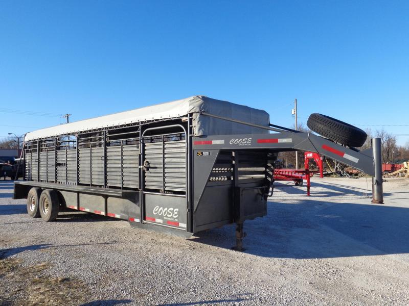 USED 2015 Coose 24 x 6'8 Dark Gray with Light Gray Tarp Gooseneck Livestock Trailer