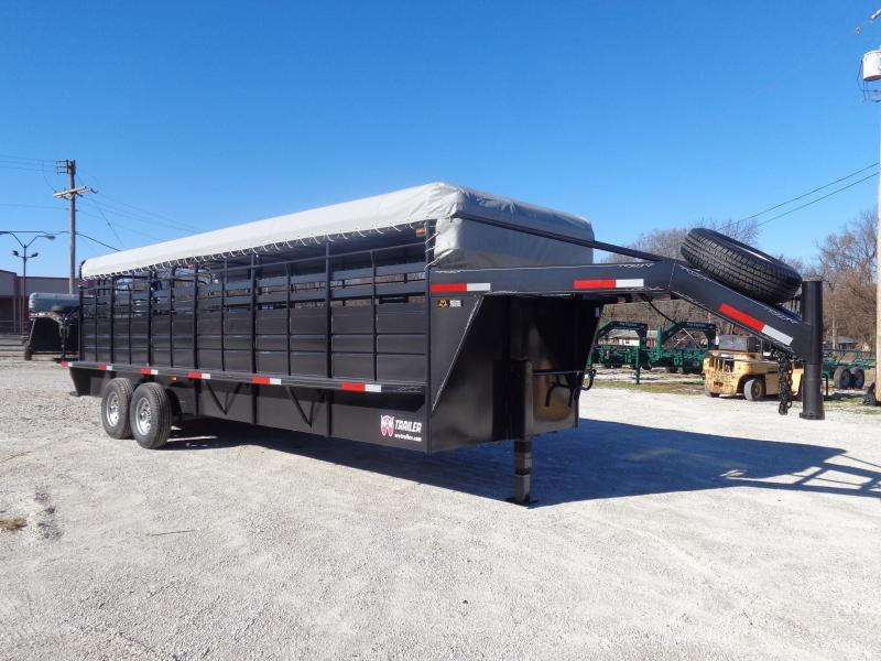 W-W 24 x 6'8 Roustabout Gooseneck Dark Shadow Gray w/ Light Gray Tarp Livestock Trailer
