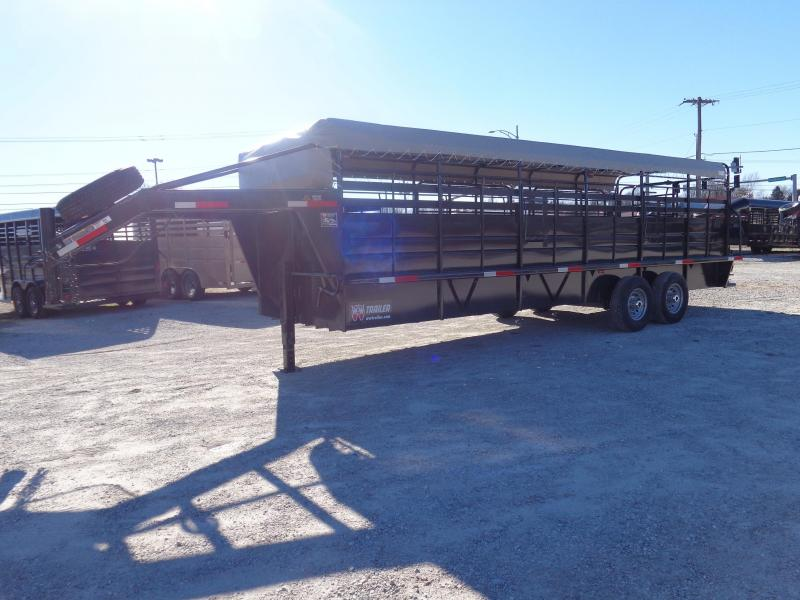W-W 24 x 6'8 Roustabout Gooseneck Dark Shadow Gray w/ Light Gray Tarp Livestock Trailer