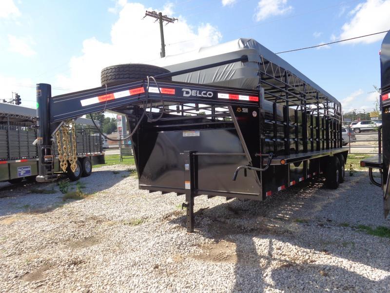 Delco 24' x 6'8 Gooseneck Powder Coated Black w/ Gray Tarp Livestock Trailer