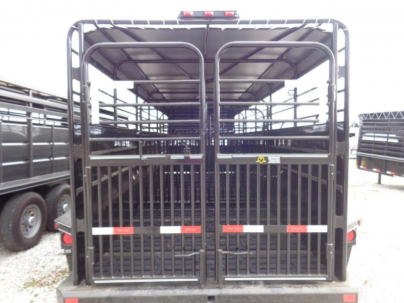 Delco 24' x 6'8 Gooseneck Powder Coated Black w/ Gray Tarp Stock Trailer